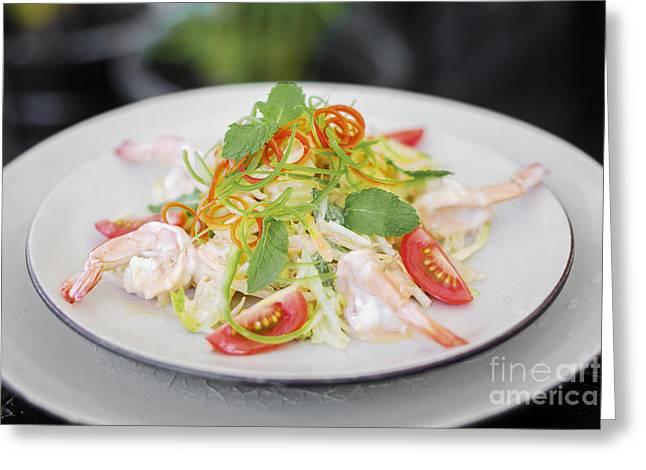 Yum Som O Prawn And Pomelo Thai Salad Greeting Card by Jacek Malipan