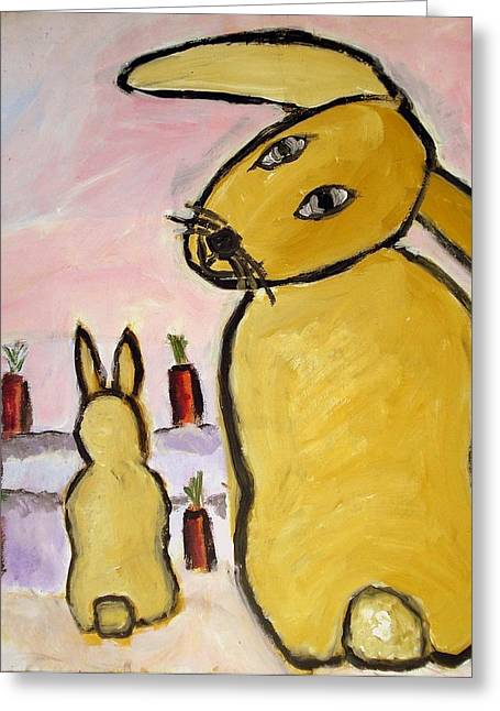 Greeting Card featuring the painting Yummy Bunny by Michael Dohnalek