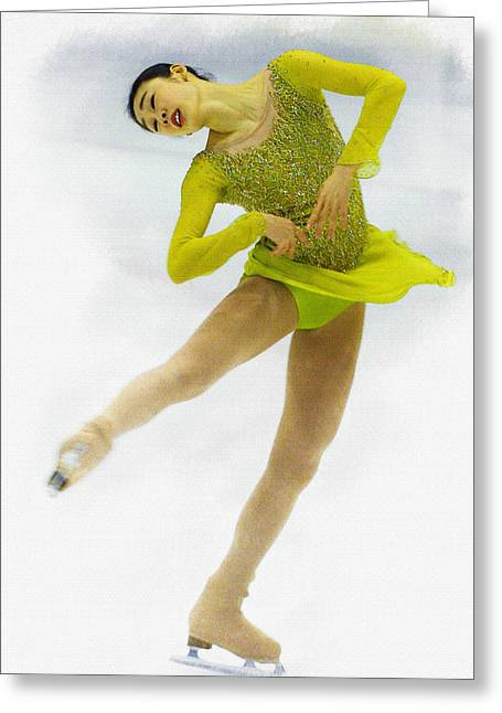 Yuna Kim Of Rebublic Of Korea Greeting Card by Don Kuing