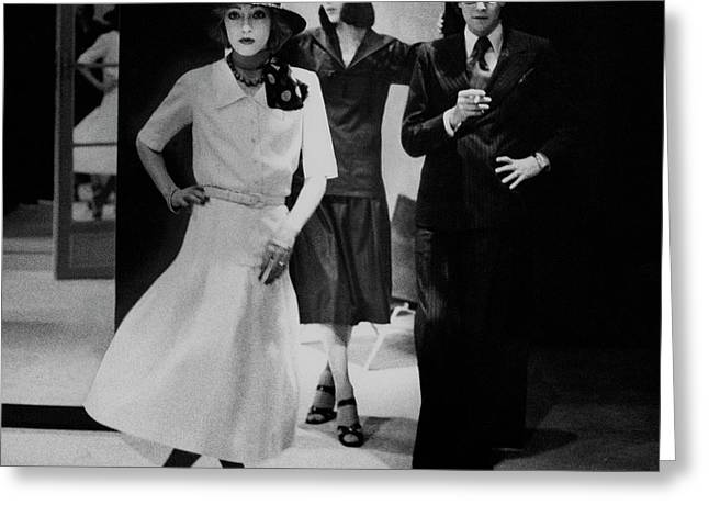 Yves Saint Lauren With Two Of His Assistants Greeting Card by Deborah Turbeville
