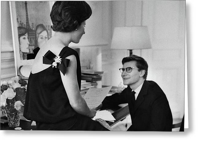 Yves St. Laurent With His Mother Greeting Card by Willy Rizzo
