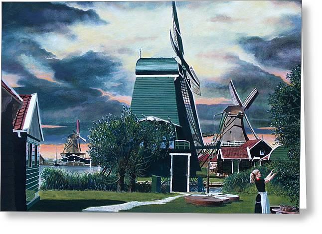 Zaanse Schans Greeting Card by Jo King