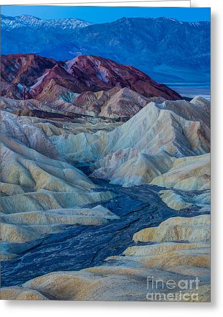 Zabriskie Point Colored Hills Sunrise Greeting Card by Gary Whitton