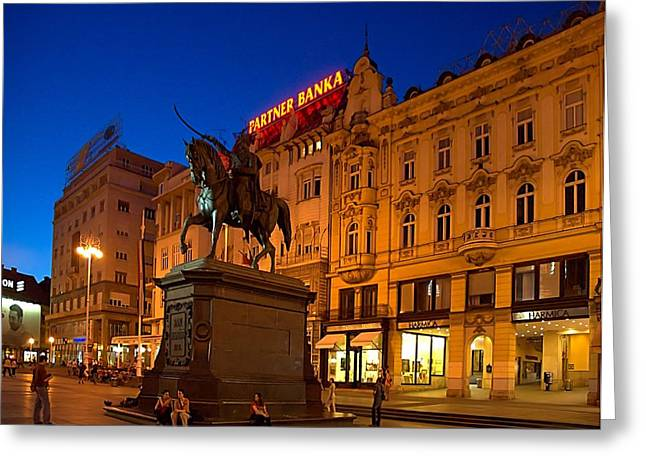 Zagreb Ban Jelacic Square At Night Greeting Card by Steven Richman