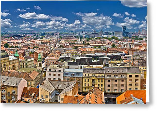 Zagreb Lower Town Colorful Panoramic View Greeting Card