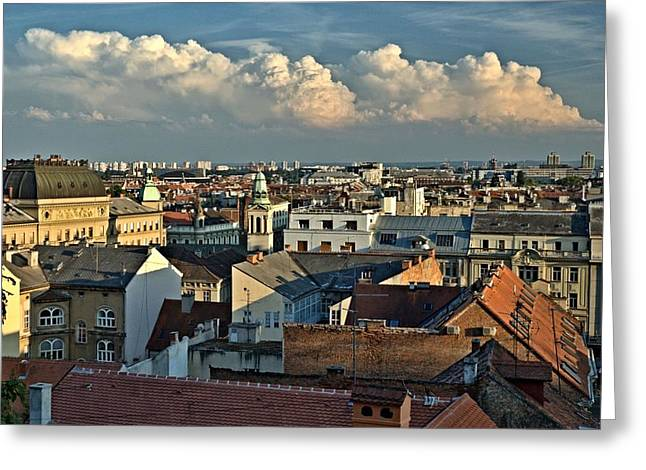 Zagreb Rooftops Greeting Card by Steven Richman