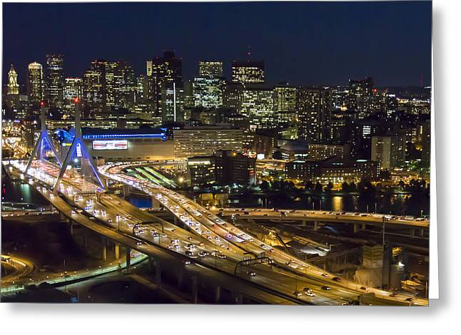 Zakim And Boston At Night Greeting Card by Dave Cleaveland