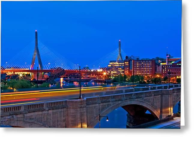 Zakim Bridge At Twilight Greeting Card by Joann Vitali