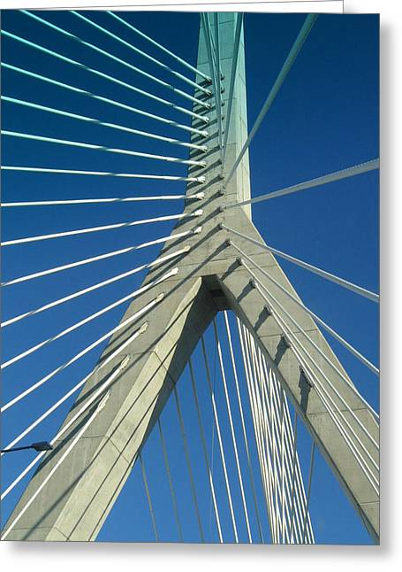 Zakim Bridge Boston Greeting Card by Mary Bedy