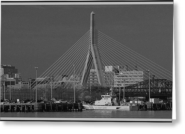 Greeting Card featuring the photograph Zakim Bridge In Bw by Caroline Stella