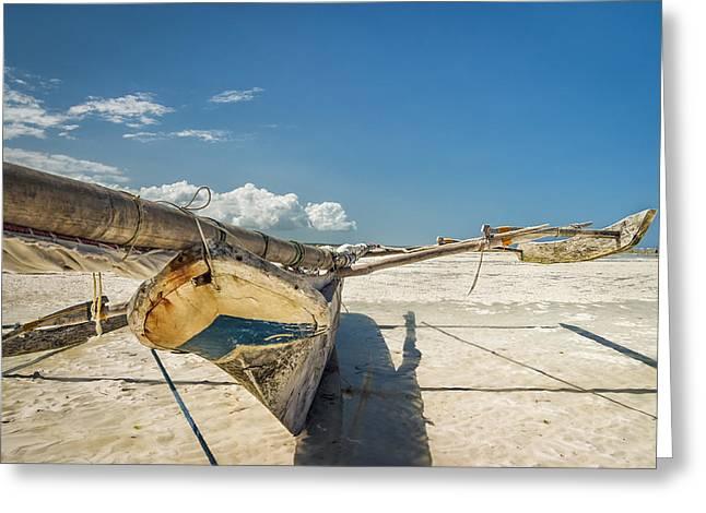 Zanzibar Outrigger Greeting Card by Adam Romanowicz