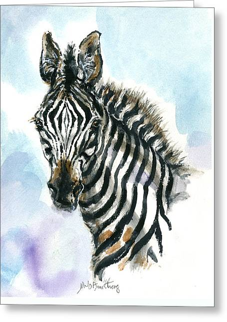 Greeting Card featuring the painting Zebra 1 by Mary Armstrong