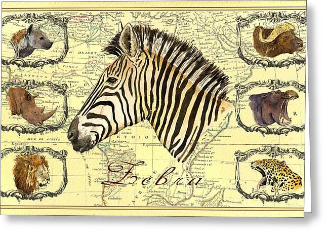 Zebra African Map Heads Greeting Card by Juan  Bosco