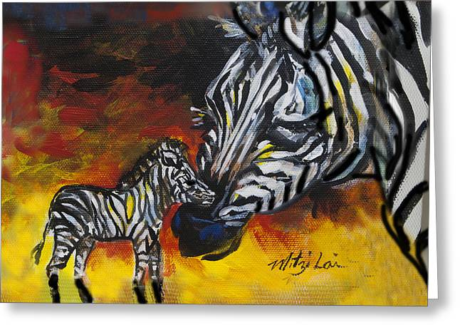 Zebra And Baby Greeting Card by Mitzi Lai