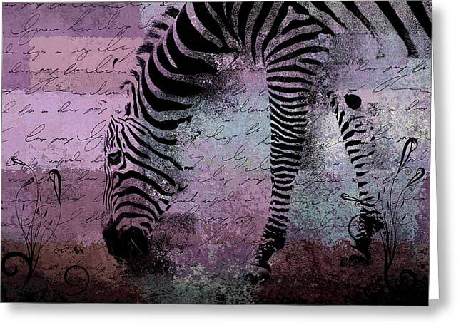 Zebra Art - Sc01 Greeting Card by Variance Collections