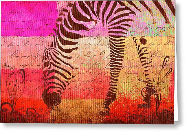Zebra Art - T1cv2blinb Greeting Card by Variance Collections