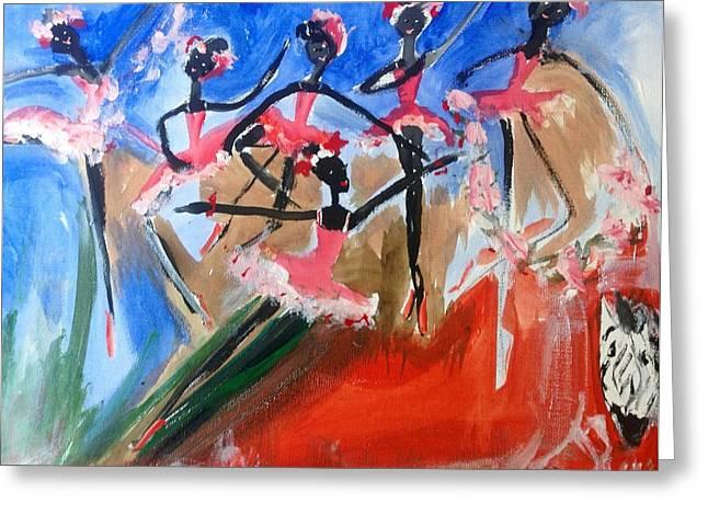 Zebra Ballet Greeting Card by Judith Desrosiers