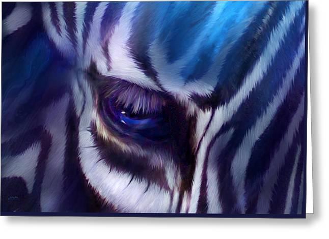 Zebra Blue Greeting Card by Carol Cavalaris