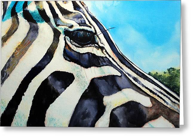 Zebra Eye Greeting Card by Tracy Rose Moyers