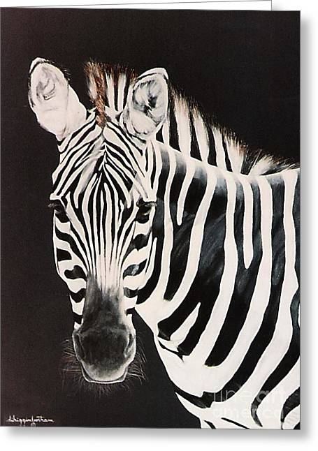 Greeting Card featuring the painting Zebra Facing Left by DiDi Higginbotham