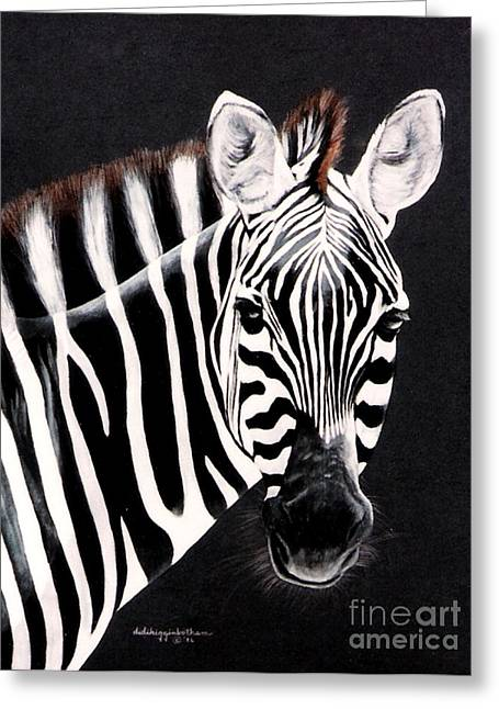 Greeting Card featuring the painting Zebra Facing Right by DiDi Higginbotham
