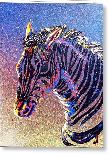 Zebra Fantasy Greeting Card by Mayhem Mediums