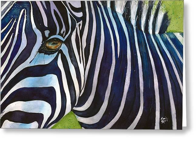 Zebra Zones Out Greeting Card