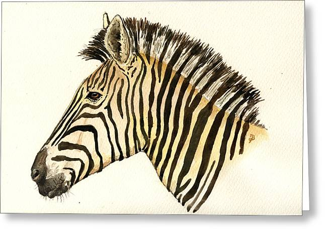Zebra Head Study Greeting Card