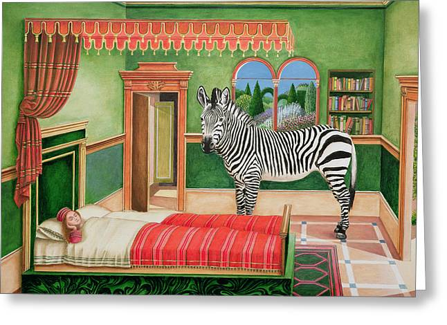 Zebra In A Bedroom, 1996 Greeting Card by Anthony Southcombe