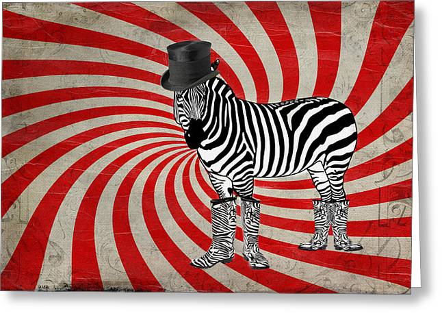 Zebra In Boots Greeting Card
