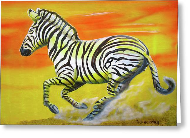 Zebra Kicking Up Dust Greeting Card