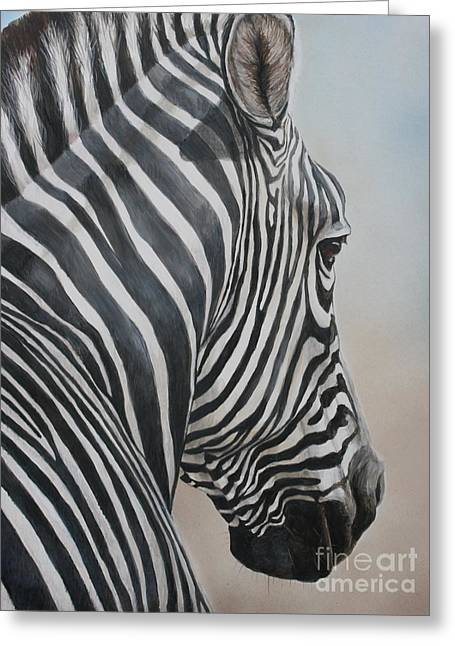 Zebra Look Greeting Card by Charlotte Yealey