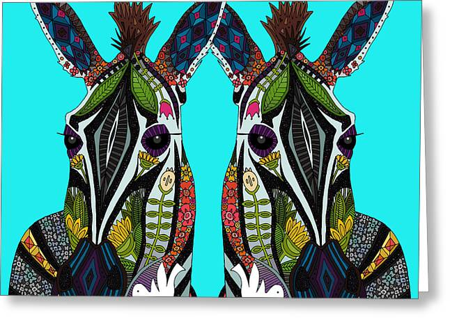 Zebra Love Turquoise Greeting Card by Sharon Turner