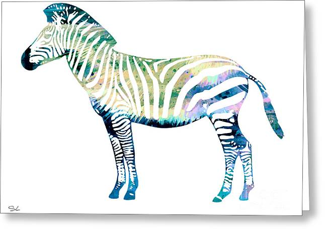 Zebra  Greeting Card by Watercolor Girl