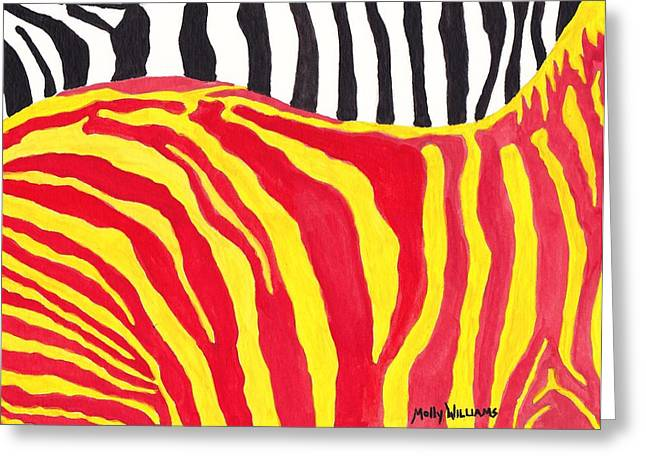 Zebra Greeting Card by Molly Williams