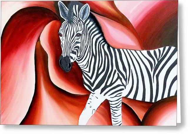 Zebra - Oil Painting Greeting Card by Rejeena Niaz