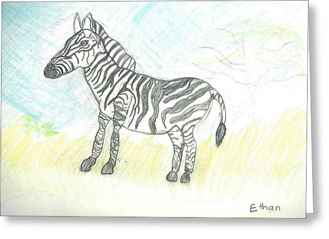 Zebra On The African Plains Greeting Card by Ethan Chaupiz
