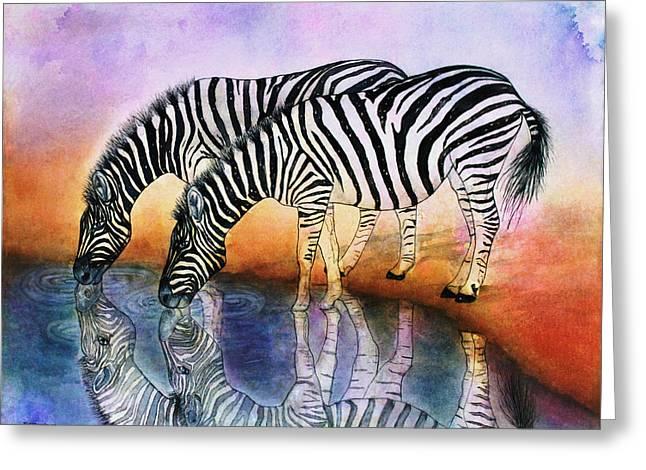 Zebra Reflections Greeting Card
