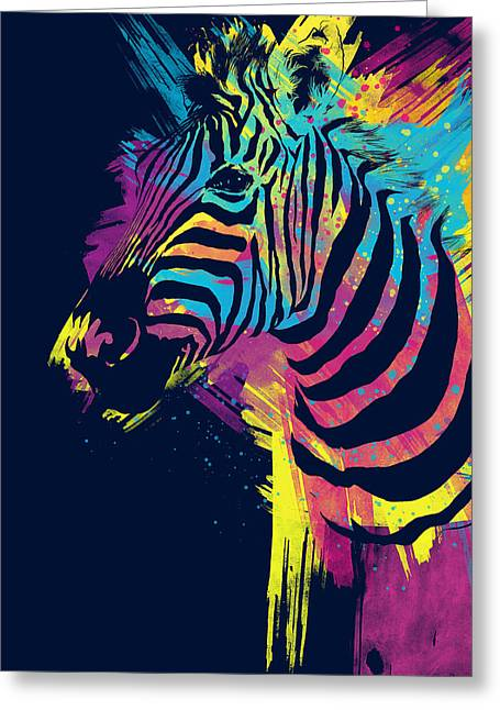 Zebra Splatters Greeting Card by Olga Shvartsur