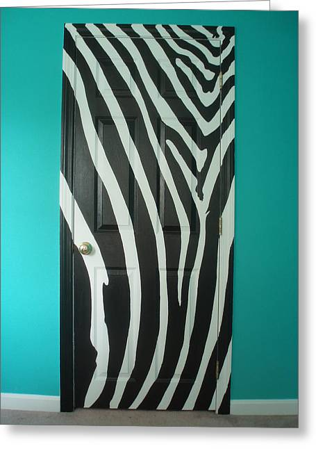 Zebra Stripe Mural - Door Number 1 Greeting Card by Sean Connolly