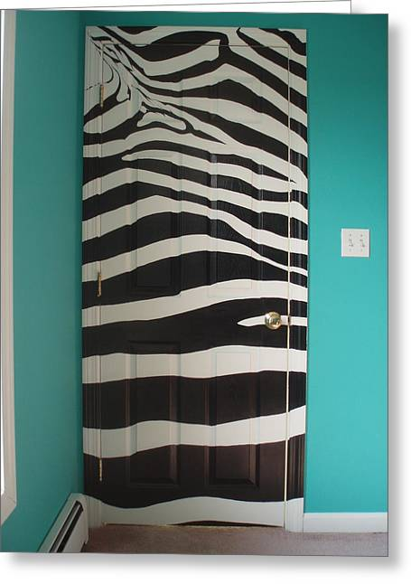 Zebra Stripe Mural - Door Number 2 Greeting Card by Sean Connolly