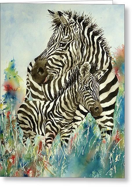 Zebra With Colt Greeting Card by Sandra Stone