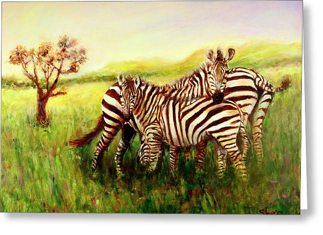 Zebras At Ngorongoro Crater Greeting Card by Sher Nasser