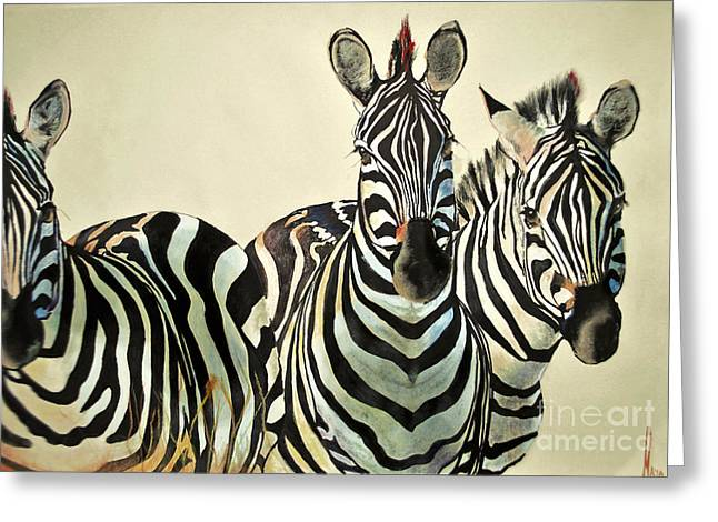 Greeting Card featuring the drawing Zebras Drawing by Maja Sokolowska