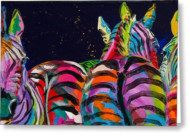 Zebras In A Row Greeting Card