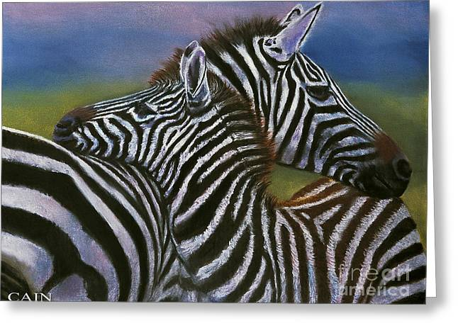 William Cain Greeting Cards - Zebras In Love Giclee Print Greeting Card by William Cain