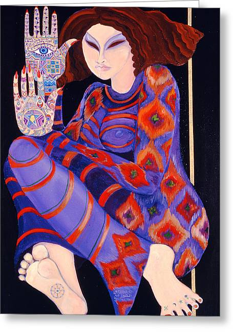 Zeinab Chasing The Devil Part 2, 1992 Acrylic On Paper See Also 279211 Greeting Card by Laila Shawa
