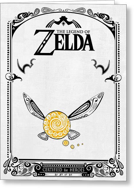 Zelda Legend - Fairy Navi Doodle Greeting Card by Art Et Be