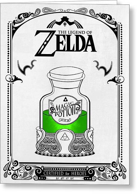 Zelda Legend - Magic Potion Greeting Card by Art Et Be