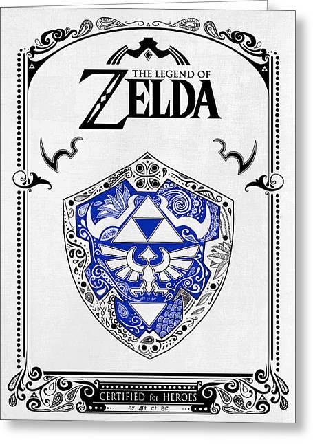 Zelda Legend - Shield Greeting Card by Art Et Be